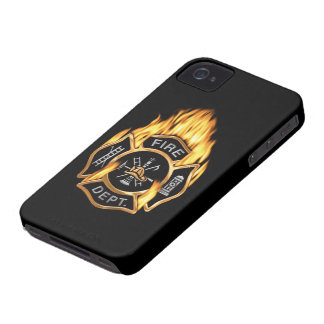 Fire Department Flaming Gold Badge iPhone 4 Case-Mate Cases