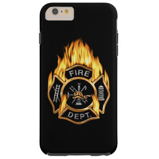 Fire Department Flaming Gold Badge Tough iPhone 6 Plus Case