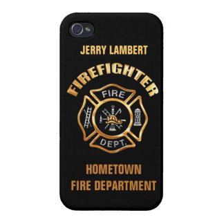 Fire Department Gold Badge Name Template Cover For iPhone 4