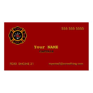 Fire Department Pack Of Standard Business Cards
