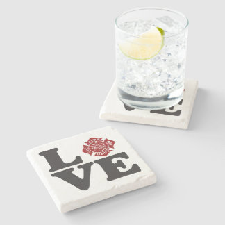 "Fire Dept Firefighter Marble Stone Coaster ""LOVE"""