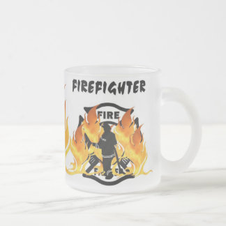 Fire Dept Flames Frosted Glass Coffee Mug
