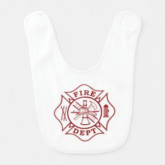 Fire Dept Maltese Cross Baby Bib