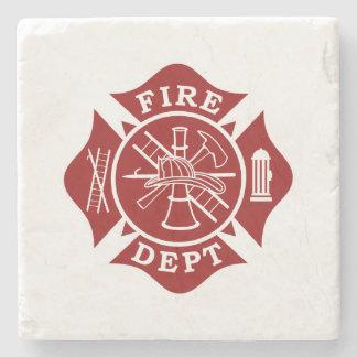 Fire Dept Maltese Cross Marble Stone Coaster