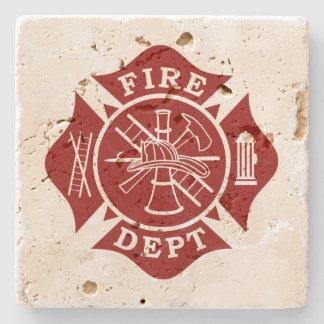 Fire Dept Maltese Cross Travertine Coaster Stone Coaster
