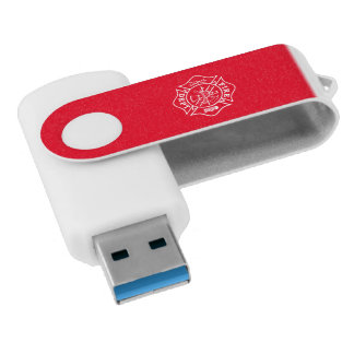 Fire Dept Maltese Cross USB Drive, 16GB, White/Red USB Flash Drive