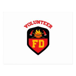 FIRE DEPT VOLUNTEER POSTCARD