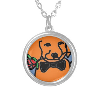 fire dog round pendant necklace