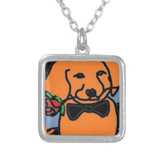 fire dog square pendant necklace