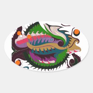 Fire Dragon (Green & Black) Oval Sticker
