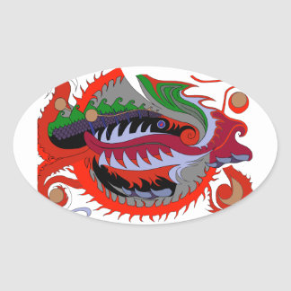 Fire Dragon (Red & Green) Oval Sticker