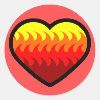 Fire Element Heart Round Sticker