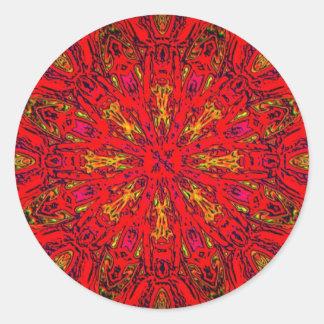 FIRE Element Kaleido Pattern Round Sticker