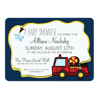 Fire Engine and Hose Baby Shower 13 Cm X 18 Cm Invitation Card