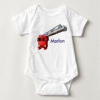 Fire engine baby bodysuit