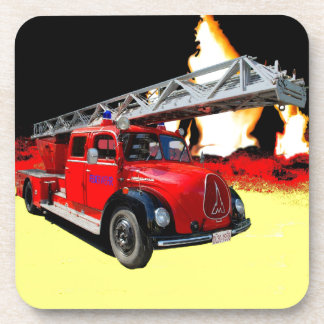 Fire engine beverage coasters