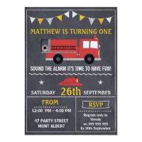 Chalkboard invitations announcements zazzle fire engine chalkboard birthday party invitation filmwisefo Choice Image