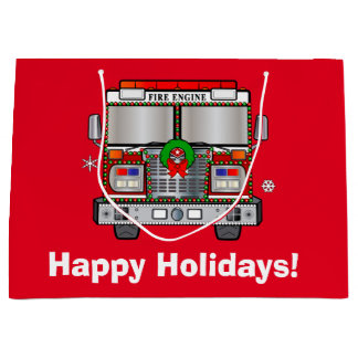 Fire Engine Decorated for Christmas Large Gift Bag