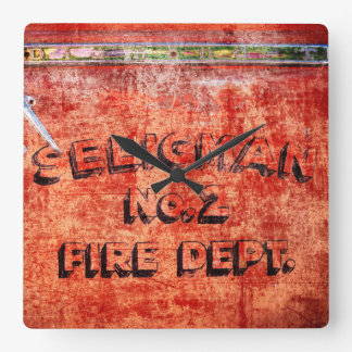 Fire Engine Door Square Wall Clock