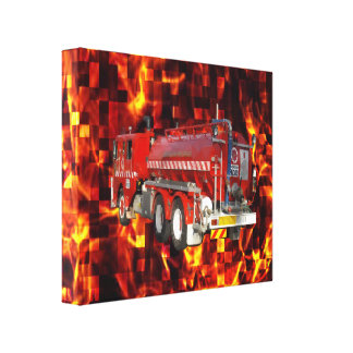 Fire Engine Polygon Graphic On Fire Mosaic, Canvas Print