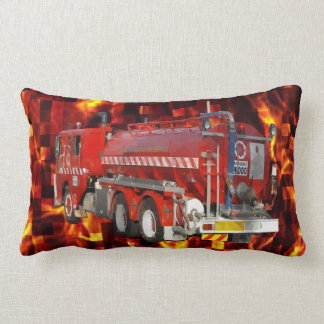 Fire Engine Polygon Graphic On Fire Mosaic, Lumbar Cushion