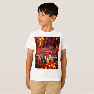 Fire Engine Polygon Graphic On Fire Mosaic, T-Shirt