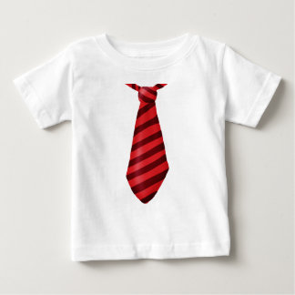 Fire engine red striped tie baby T-Shirt