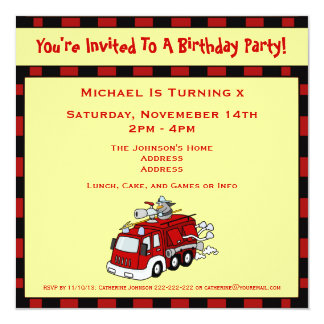 "Fire Engine Truck  and Fireman Kids Birthday Party 5.25"" Square Invitation Card"