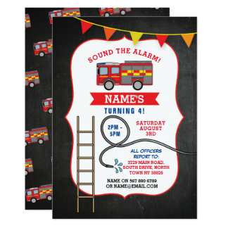 Fire Engine Truck Birthday Party Dept. Invite