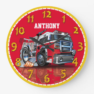 Fire Engine Truck Personalizable Children's Clock