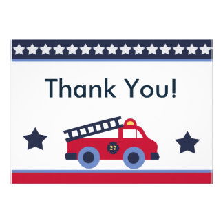 Fire Engine Truck Thank You Cards Custom Invitations
