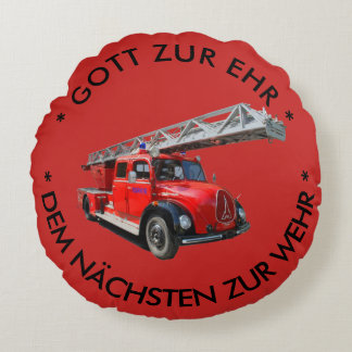Fire engine with saying round cushion