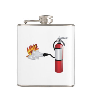 Fire Extinguisher Putting Out Fire Flask