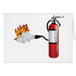 Fire Extinguisher Putting Out Fire Greeting Cards
