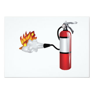 Fire Extinguisher Putting Out Fire Invitations