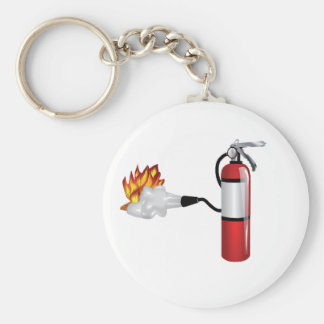 Fire Extinguisher Putting Out Fire Keychain