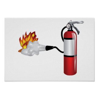Fire Extinguisher Putting Out Fire Poster