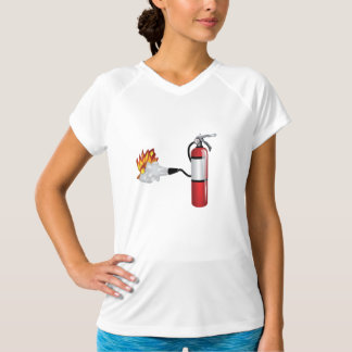 Fire Extinguisher Putting Out Fire Womens Active T Shirts