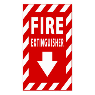 fire extinguisher sign pack of standard business cards