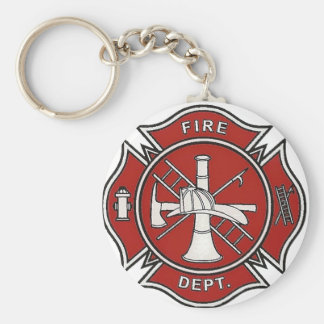Fire Fighter Badge Basic Round Button Key Ring