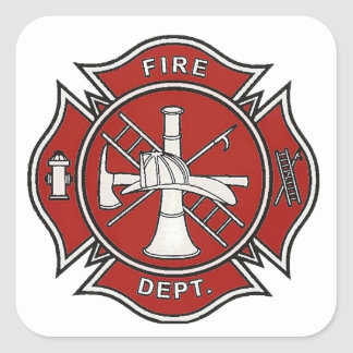 Fire Fighter Badge Square Sticker