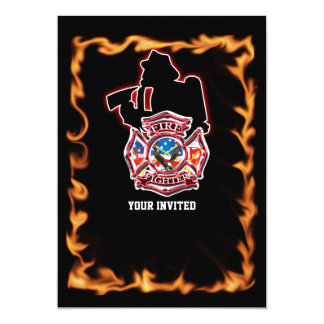 Fire fighter fighting the flames card