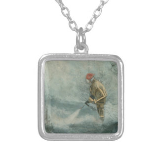 Fire Fighter Fireman Silver Plated Necklace