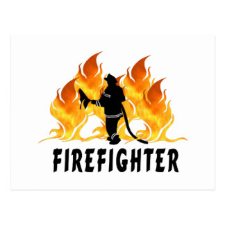 Fire Fighter Flames Postcard