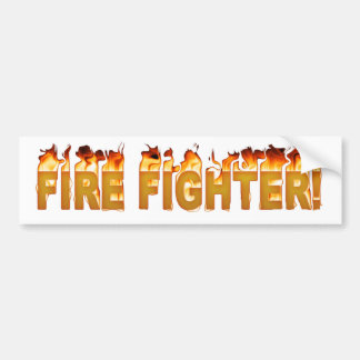 FIRE FIGHTER FLAMING TEXT BUMPER STICKER
