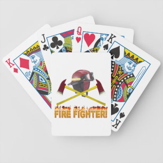 FIRE FIGHTER GEAR LOGO FLAMING TEXT BICYCLE PLAYING CARDS