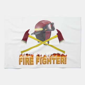 FIRE FIGHTER GEAR LOGO FLAMING TEXT KITCHEN TOWEL