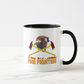 FIRE FIGHTER GEAR LOGO FLAMING TEXT MUG