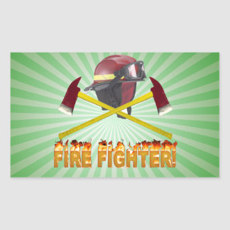 FIRE FIGHTER GEAR LOGO FLAMING TEXT RECTANGULAR STICKER