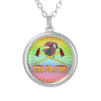 FIRE FIGHTER GEAR LOGO FLAMING TEXT SILVER PLATED NECKLACE